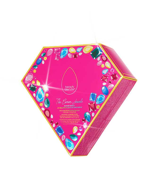 THE CROWN JEWELS™ Blender Essentials Set. 4 Beautyblender makeup sponges in Original pink, Ruby, Emerald Green and Blue Topaz. 4 matching gemstone solid blendercleansers