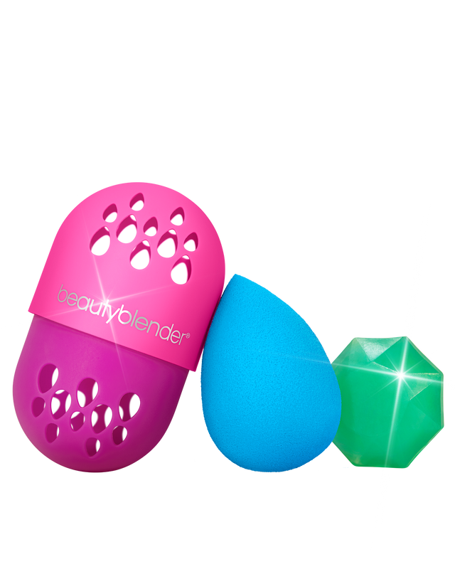 JUST ENCASE™ Blend & Defend Trio. Blue Topaz Beautyblender makeup sponge, blender defender and solid blendercleanser - Back