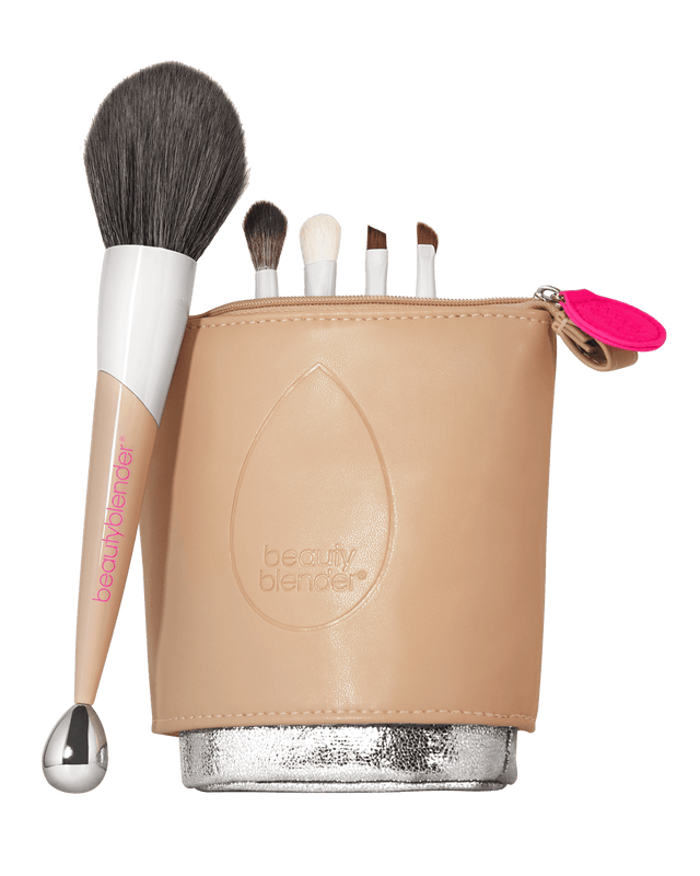 The ENTOURAGE 5-piece Beautyblender Brush Set plus bag