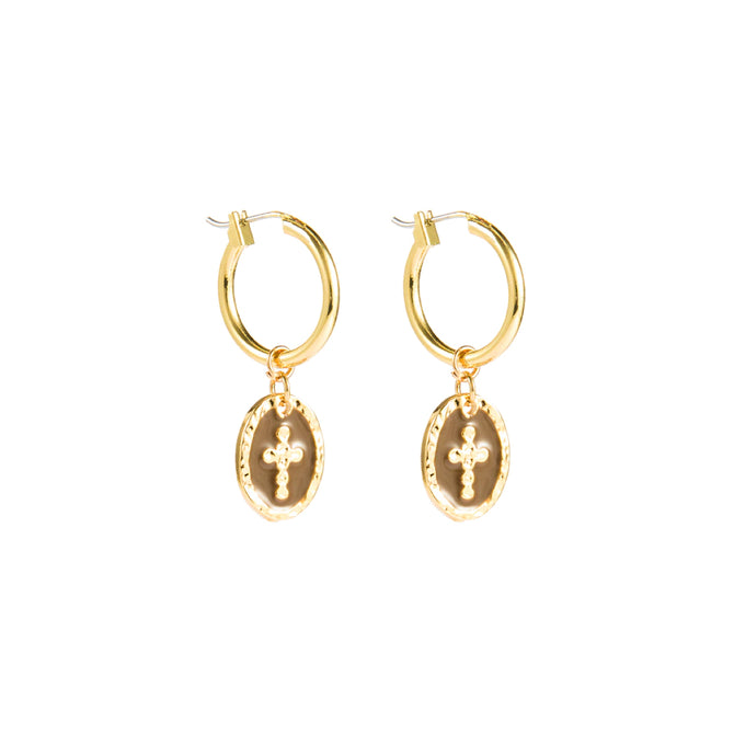 CROSS HOOP EARRINGS - GOLD