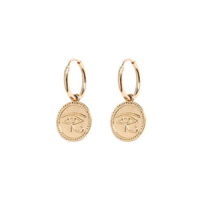 COIN WITH EYE HOOPS - ROSE GOLD