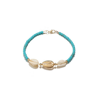 GOLD SHELL ANKLET - GREEN
