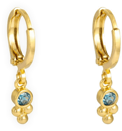 BLUE SPARKLE EARRINGS - GOLD