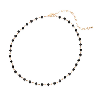 NECKLACE WITH BLACK BEADS - GOLD