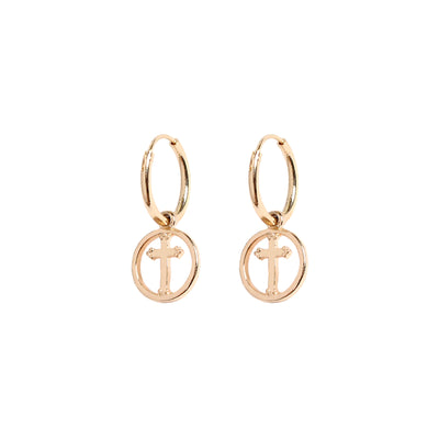 OPEN CROSS HOOPS - ROSE GOLD
