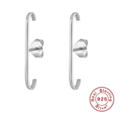 925 sterling silver long EARRINGS - SILVER