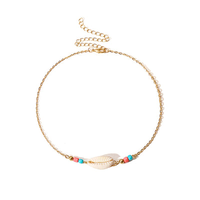 SHELL NECKLACE WITH DETAILS - GOLD