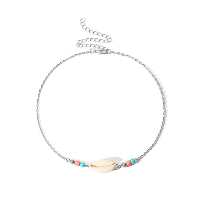 SHELL NECKLACE WITH DETAILS - SILVER