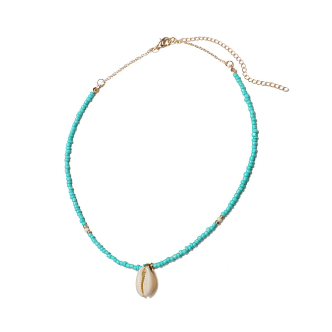 SHELL NECKLACE - GREEN BEADS