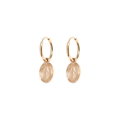 SMALL MARY TAG HOOPS - ROSE GOLD