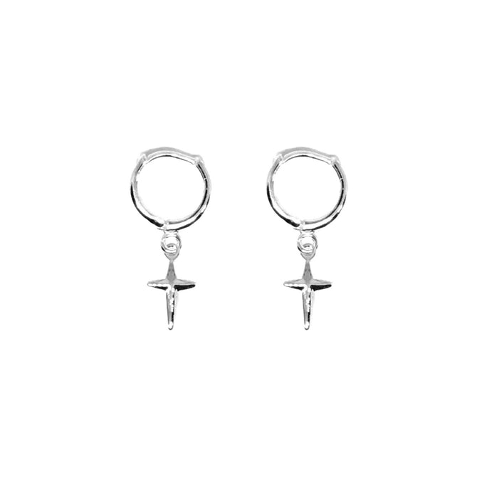 TINY CROSS EARRINGS - SILVER