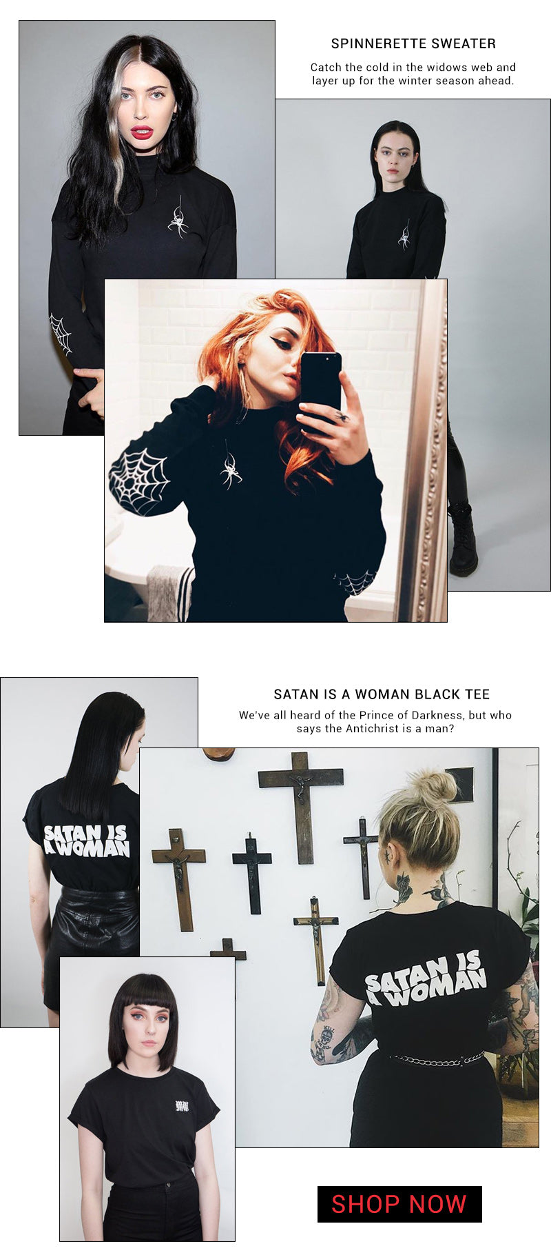 MARY WYATT SPINNERETTE SWEATER AND SATAN IS A WOMAN TEE