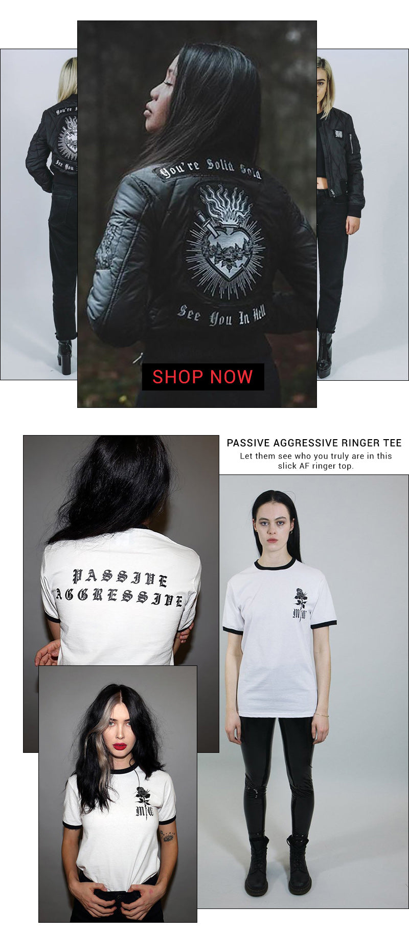 mary wyatt see you in hell jacket and passive aggressive ringer tee