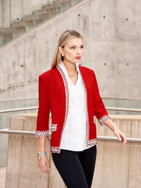 Plus Size Embroidered Trim Jacket
