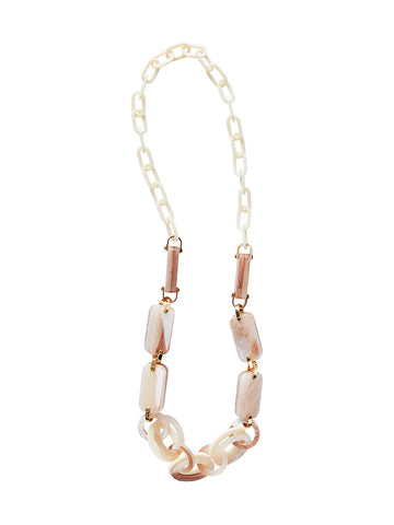 Blush and Ivory Resin Link Necklace
