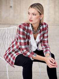 Fringe Trim Plaid Jacket
