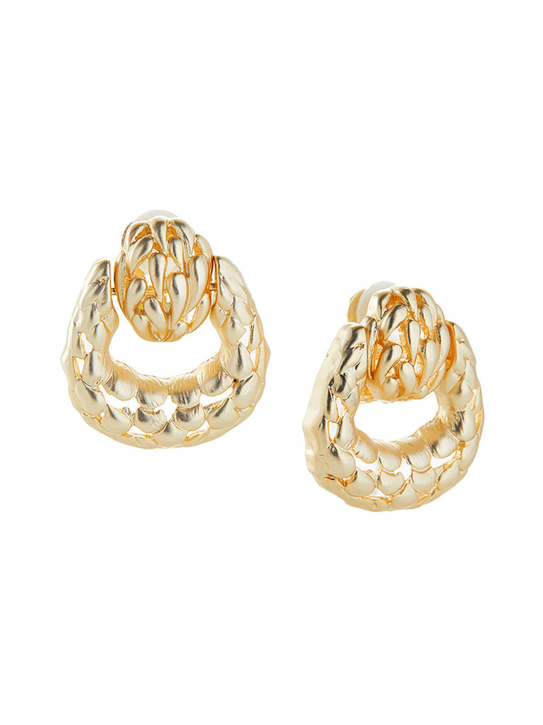 Matte Gold Doorknocker Clip Earrings – Misook
