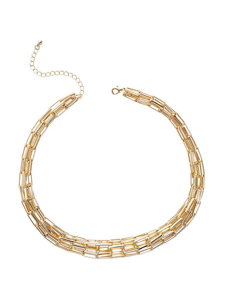 Gold Tapered Cage Link Necklace