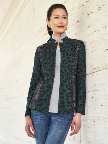 Two-Tone Leopard Knit Jacket
