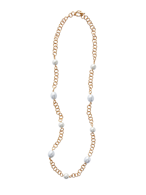 Baroque Pearl and Gold Link Necklace | Hypoallergenic Jewelry | Misook