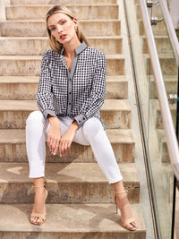 Stretch Cotton Button-Up Checkered Blouse