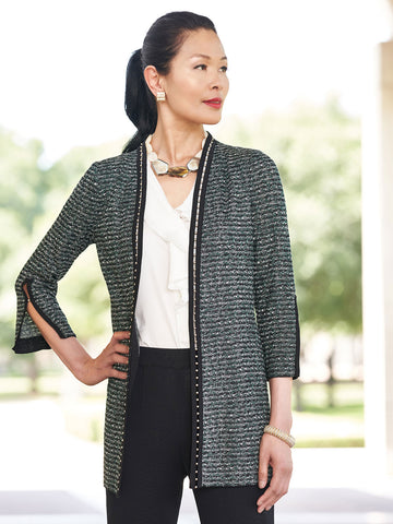 Metal Trim Tweed Knit Jacket