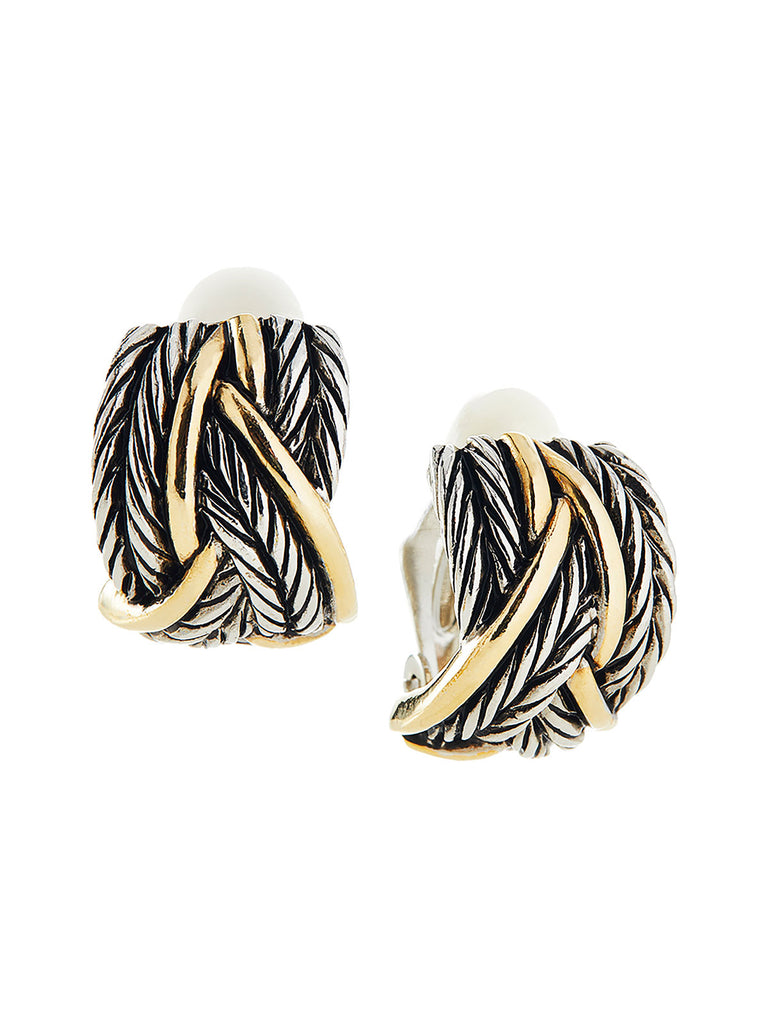 Two-Tone Braided Clip Earrings | Nickle-Free Jewelry | Misook
