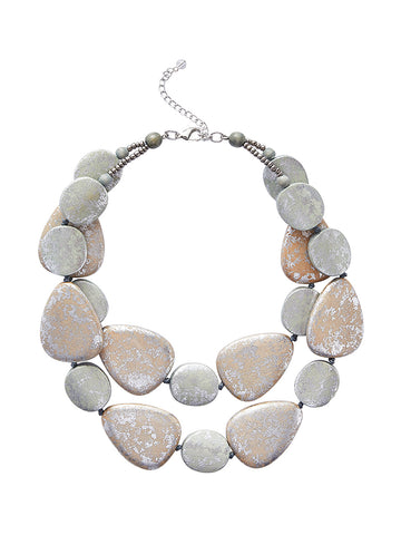 Layered Silver River Stone Necklace