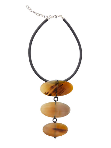 Three Oval Horn Necklace