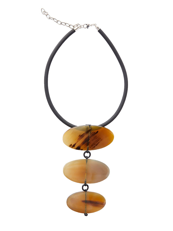 Three Oval Horn Necklace | Hypoallergenic Jewelry | Misook