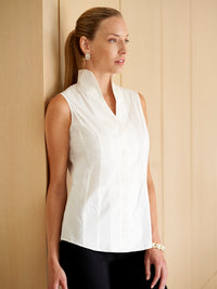 Sleeveless Stretch Cotton Blouse in White | On-Model | Premium Detail
