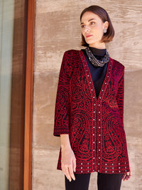 Plus Size Paisley and Stud Trim Jacket