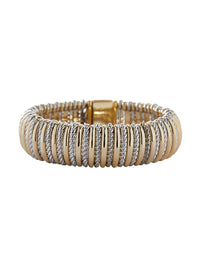 Two Tone Ribbed Bracelet | Nickle-Free Jewelry | Misook