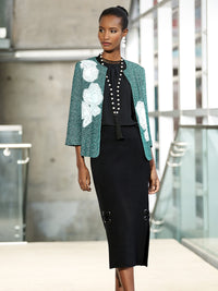 Tweed and Floral Applique Jacket Color Laguna Green/Black/Ivory