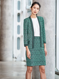 Crepe de Chine and Abstract Jacquard Sheath Dress Color Laguna Green/Black/Ivory