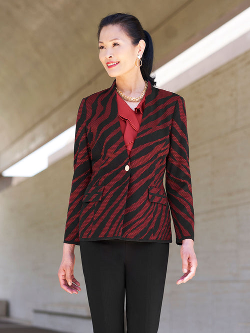 Tiger Stripe Knit Blazer