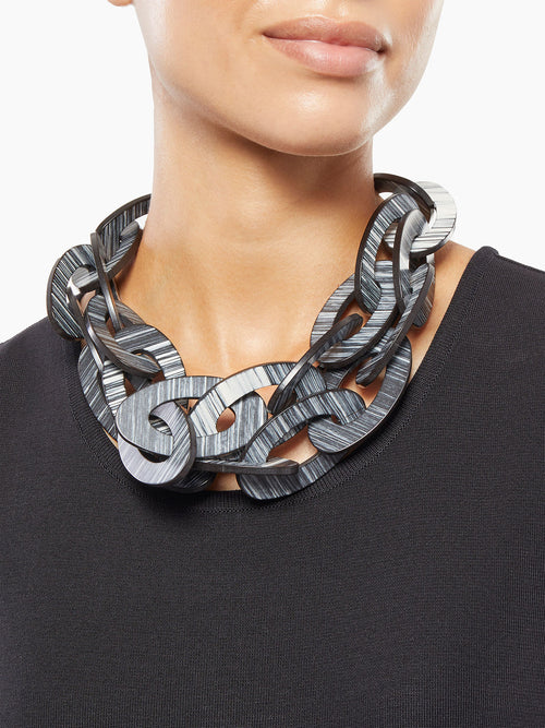 Striped Resin Multi-Link Necklace on Model