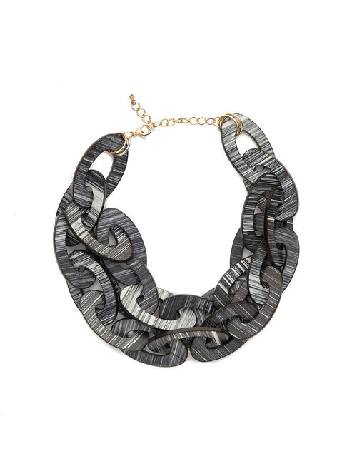 Striped Resin Multi-Link Necklace