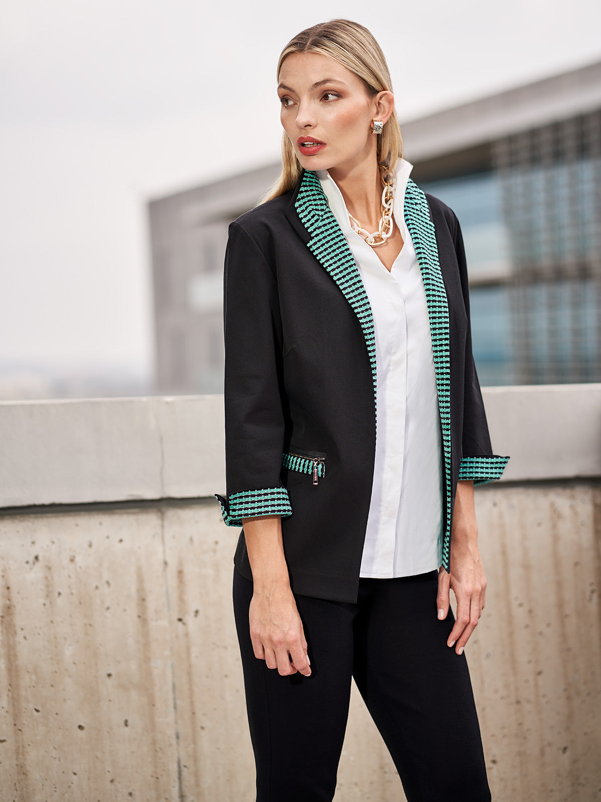 Cotton Jacket with Knit Laguna Green Trim Color Black/Laguna Green/Ivory