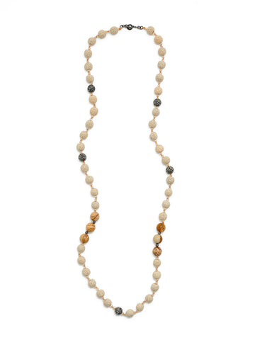 Ivory Lava Stone and Hematite Necklace