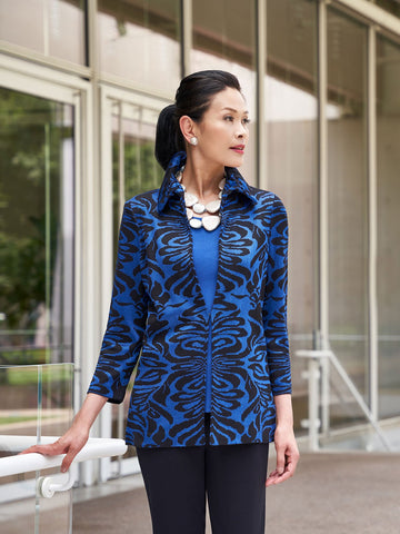 Plus Size Ruffle Collar Damask Knit Jacket