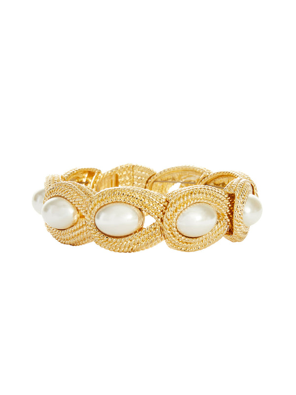 Pearl Inlay Gold Bracelet | Nickle-Free Jewelry | Misook
