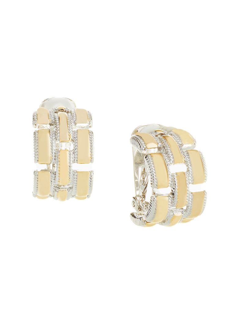 Silver and Gold Link Clip-On Earrings | Nickle-Free Jewelry | Misook