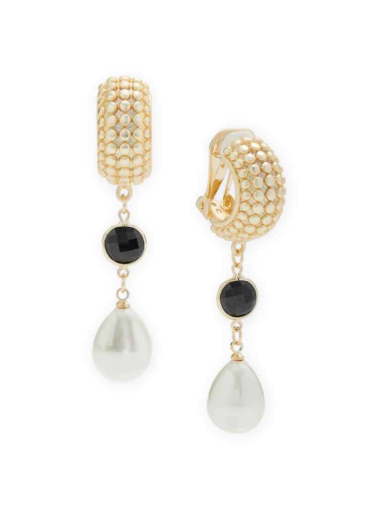 Jet Stone and Pearl Drop Clip Earrings
