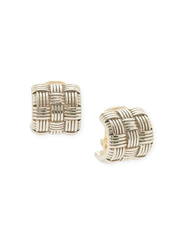 Antique Gold Woven Clip Earrings