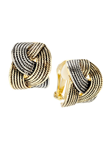 Interlocking Braid Clip Earrings