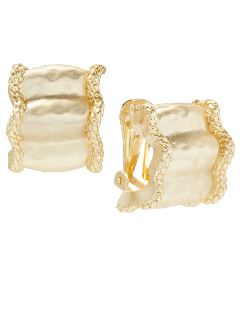 Matte Gold Ripple Clip Earrings
