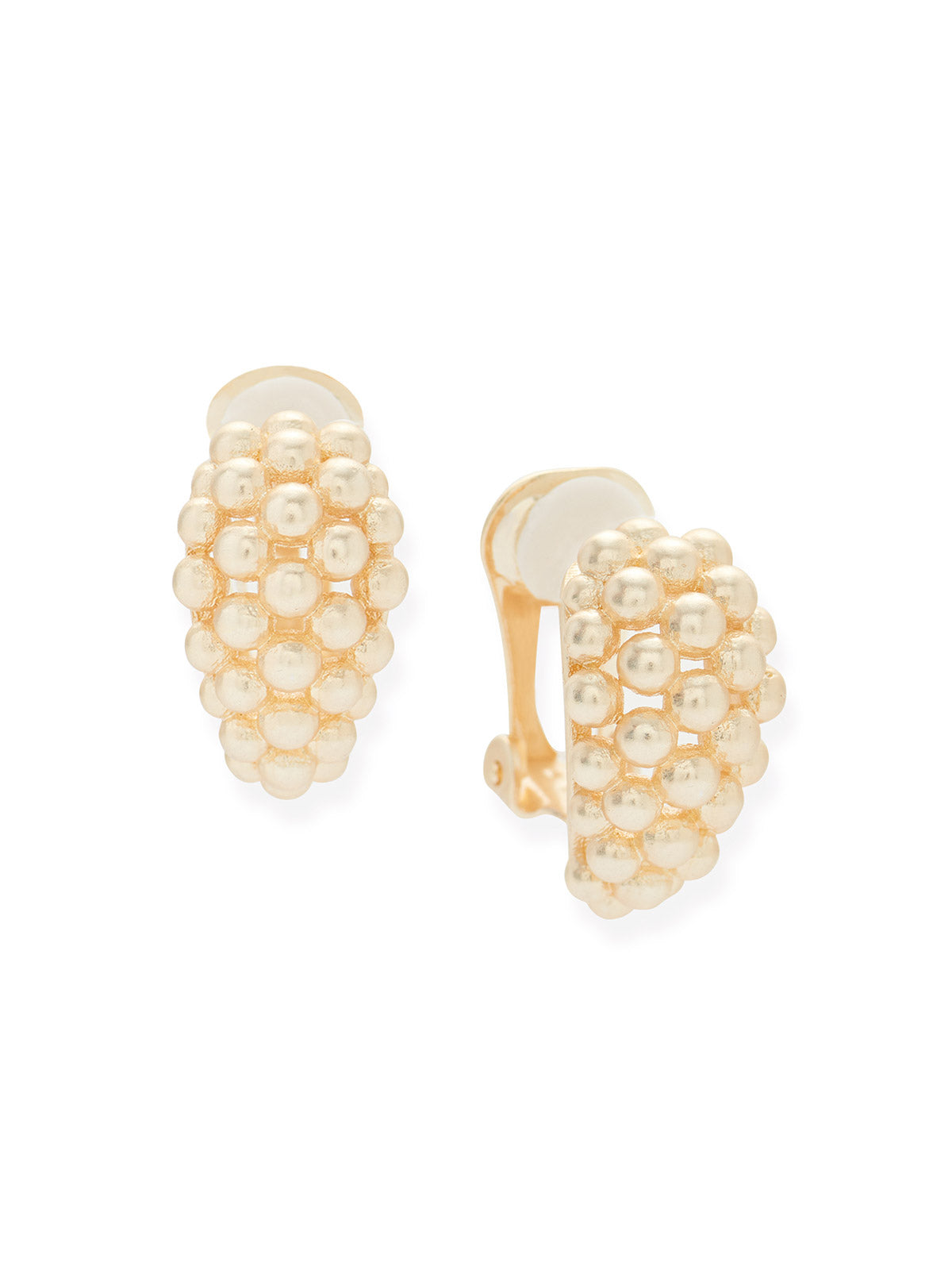 Gold Ball Cluster Clip Earrings
