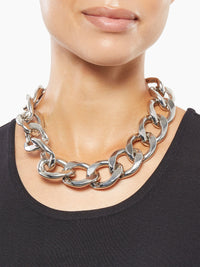 Chunky Silver Link Necklace on Model