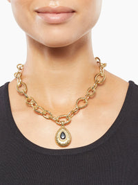 Hammered Link Necklace with Removable Pendant-Misook